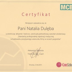 Natalia Dulęba certyfikat