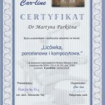 """Certyfikat """"Licówka porcelanowa i kompozytowa"""""""